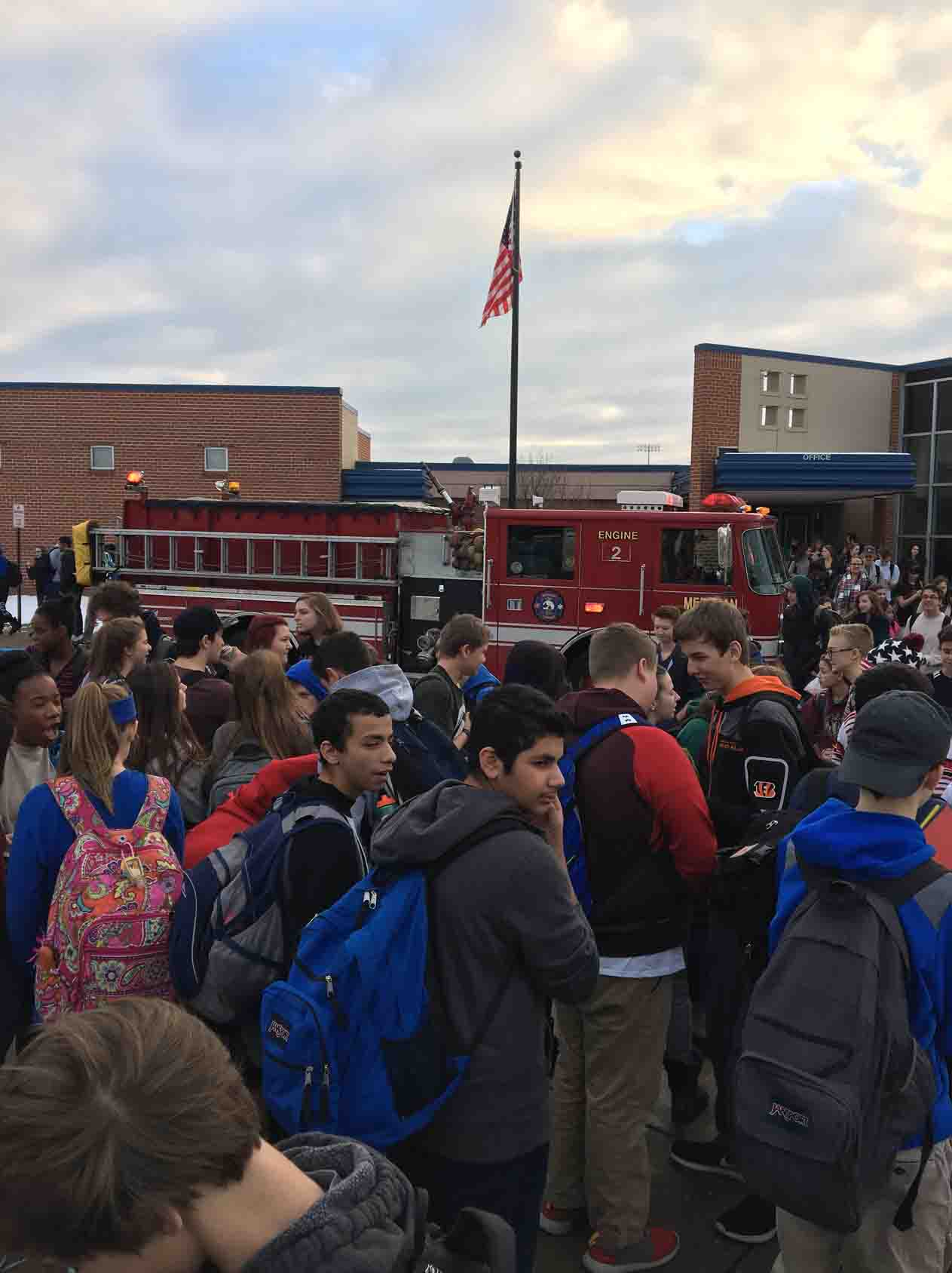 Haslett High School students  evacuating due to a power outage.